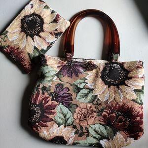 Sunflower🌻 fabric bag acrylic handles & make up